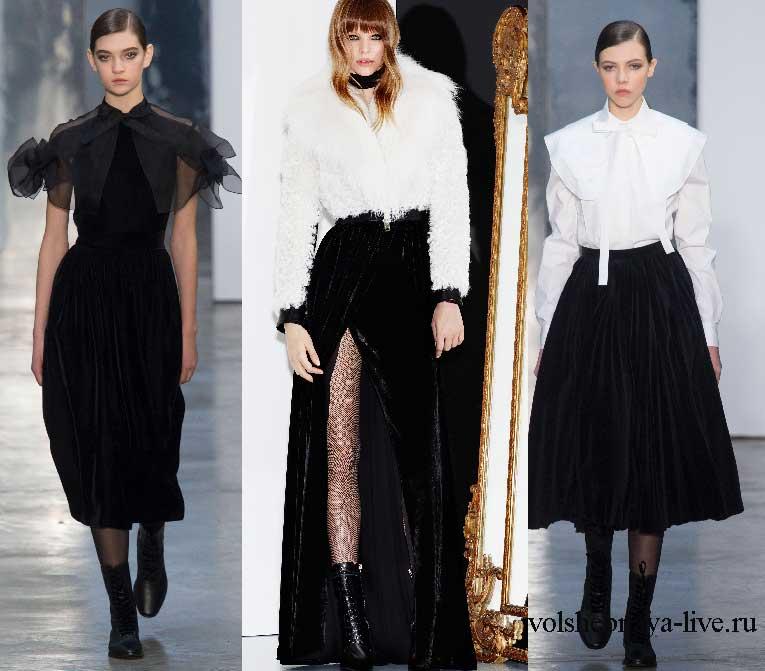 Дизайнеры в 2017 году включили в свои коллекции юбки из бархата