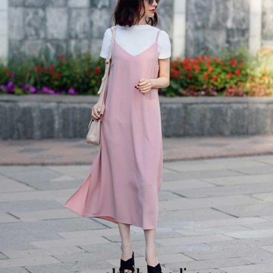 Розово- бежевое платье комбинация миди