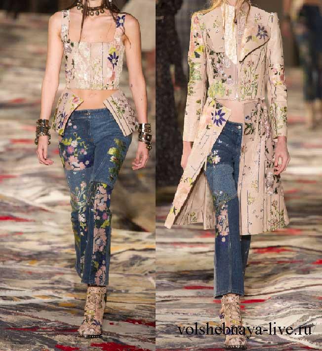 Брендовые женские джинсы с вышивкой