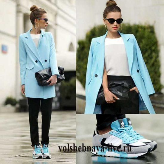 Красивый лук с голубым пиджаком под кроссовки