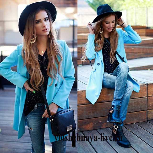 Повседневный образ с пиджаком и широкополой шляпой