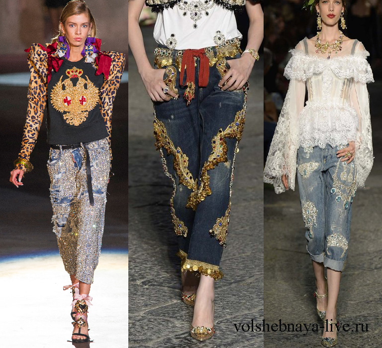 Дольче и габанна джинсы с вышивками