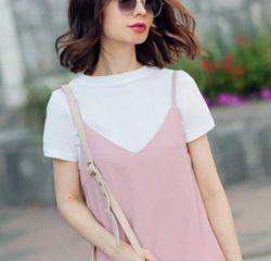 Платье комбинация цвета пудры с футболкой