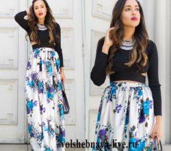 Атласная юбка в пол с цветочным принтом