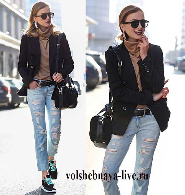 Укороченный пиджак и джинсы