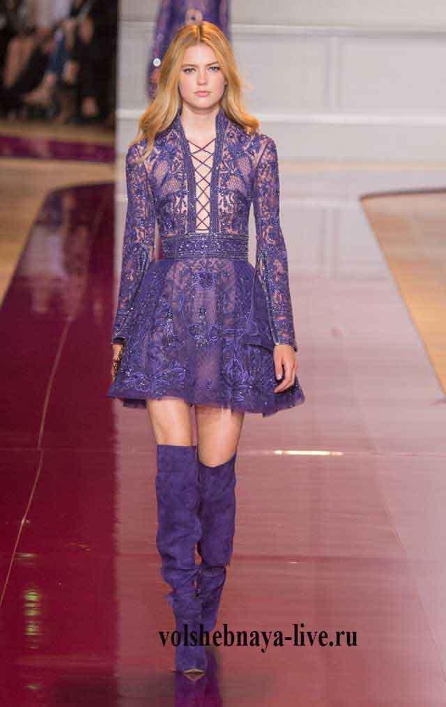 Платье цвета индиго с пышной юбкой короткое Murad couture