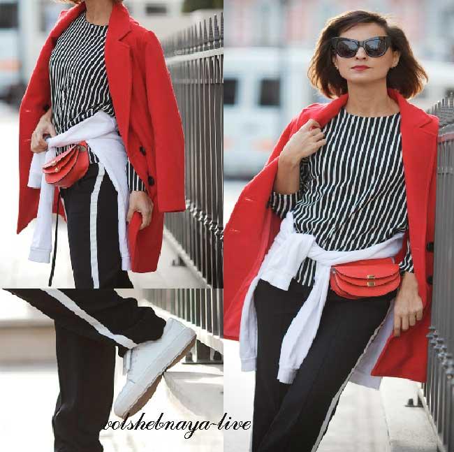 Красный двубортный пиджак -пальто