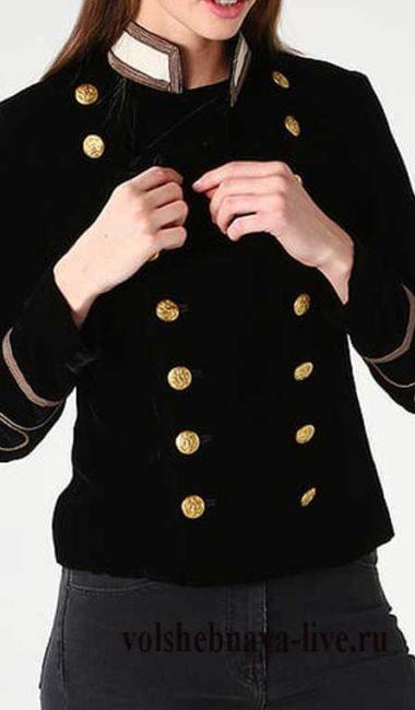 Бархатный двубортный пиджак