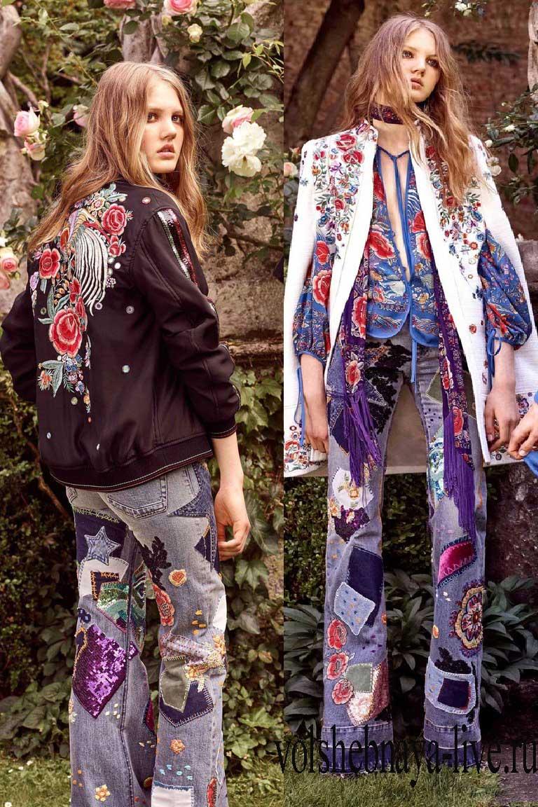 С чем носить модные джинсы с вышивкой вариант от Роберто Кавали
