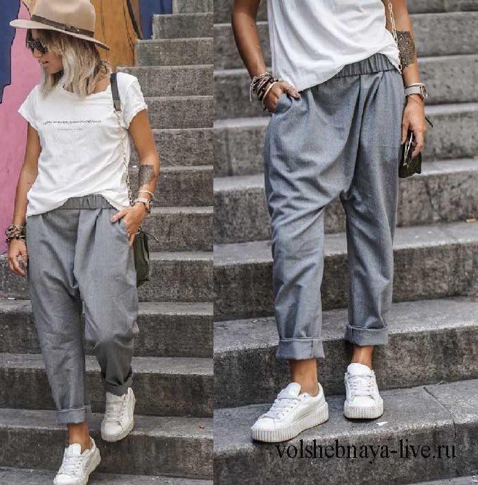 Серые брюки чиносы в повседневном луке с бежевой шляпой