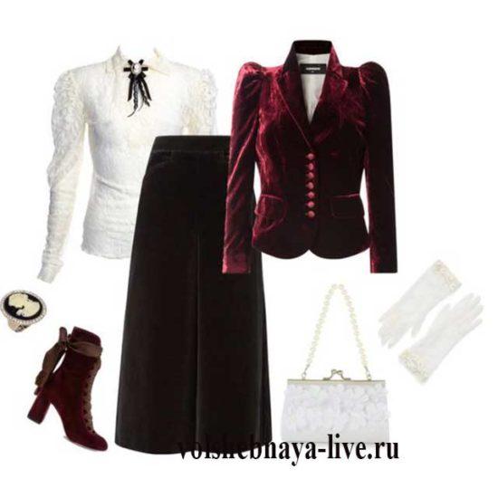 Как сочетать бордовый бархатный пиджак с черной велюровой юбкой
