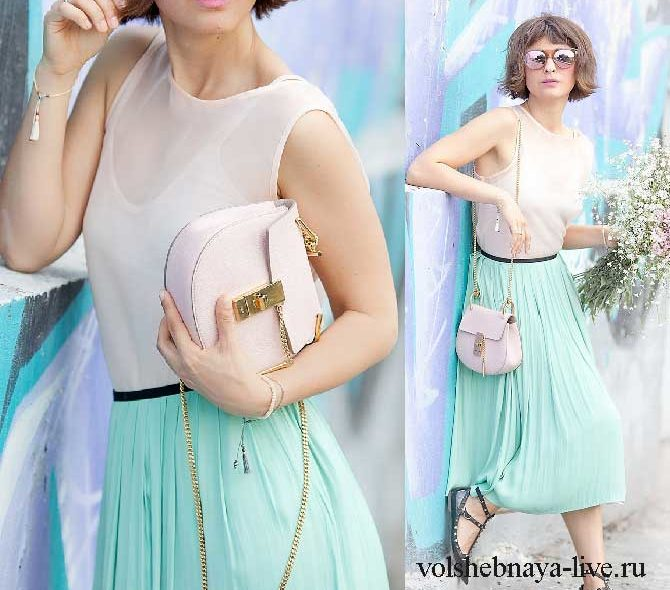 Ментоловая юбка плиссе в романтическом образе