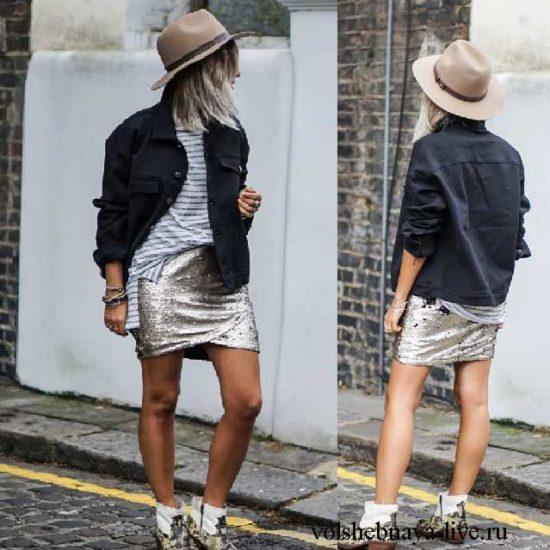 Добавляем к образу с мини юбкой в пайетках бежевую шляпу
