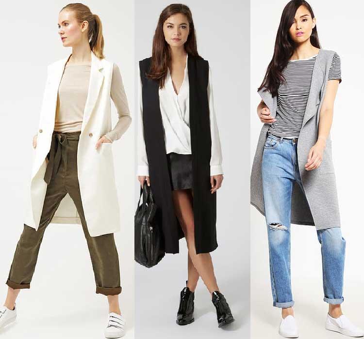 Модные удлиненные женские жилеты из ткани