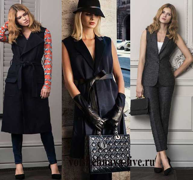 Офисный стиль и длинный женский жилет