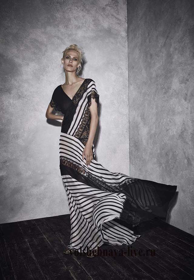 Бело черное платье из шиона в пол Alberta Ferretti resort 2017 fashion