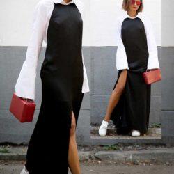 Платье комбинация в пол под белую рубашку
