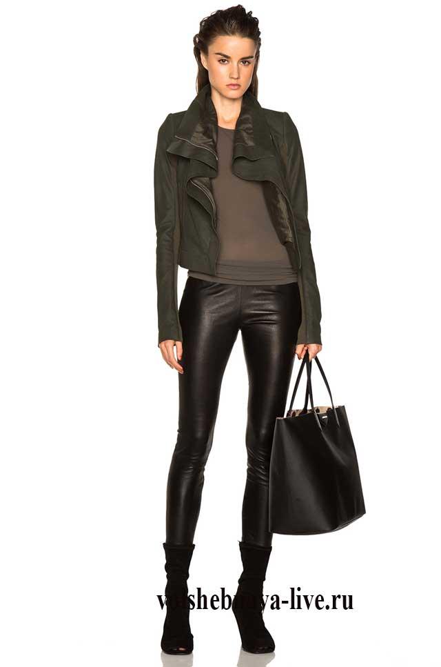 Кожаная куртка косуха цвета хаки с кожаными брюками