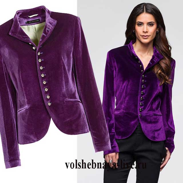 Сиреневый женскиСиреневый женский бархатный пиджакй бархатный пиджак