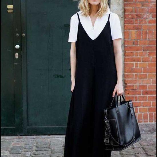 Черное длинное платье комбинация с белой рубашкой