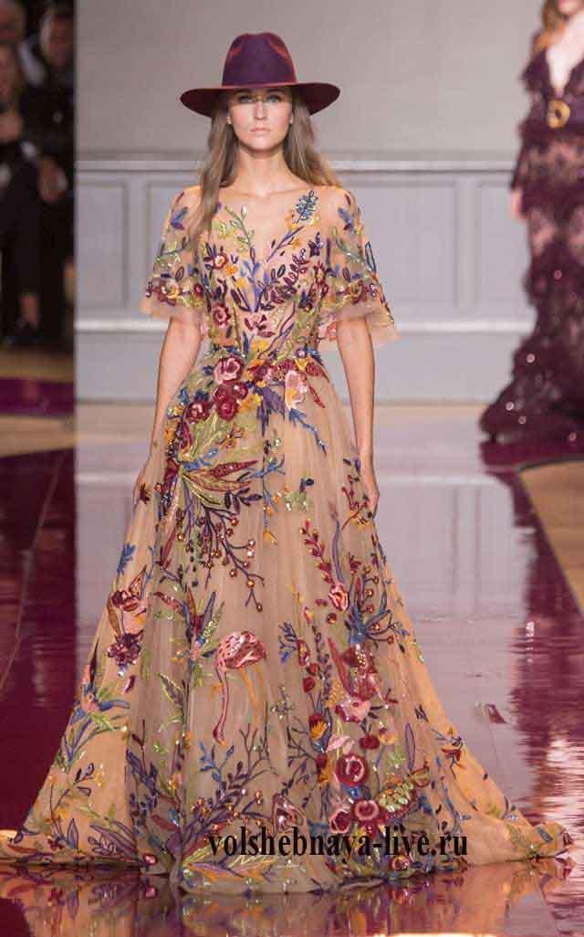 Вечернее платье в пол с вышивкой птицами Zuhair Murad couture 2016