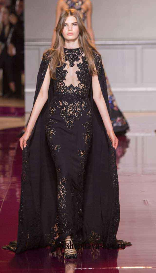 Черное в пол платье с кружевом от Зухаир Мурад 2016-2017