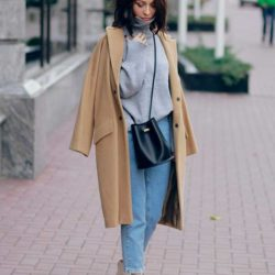 С чем носить пальто кокон, цвета кэмел