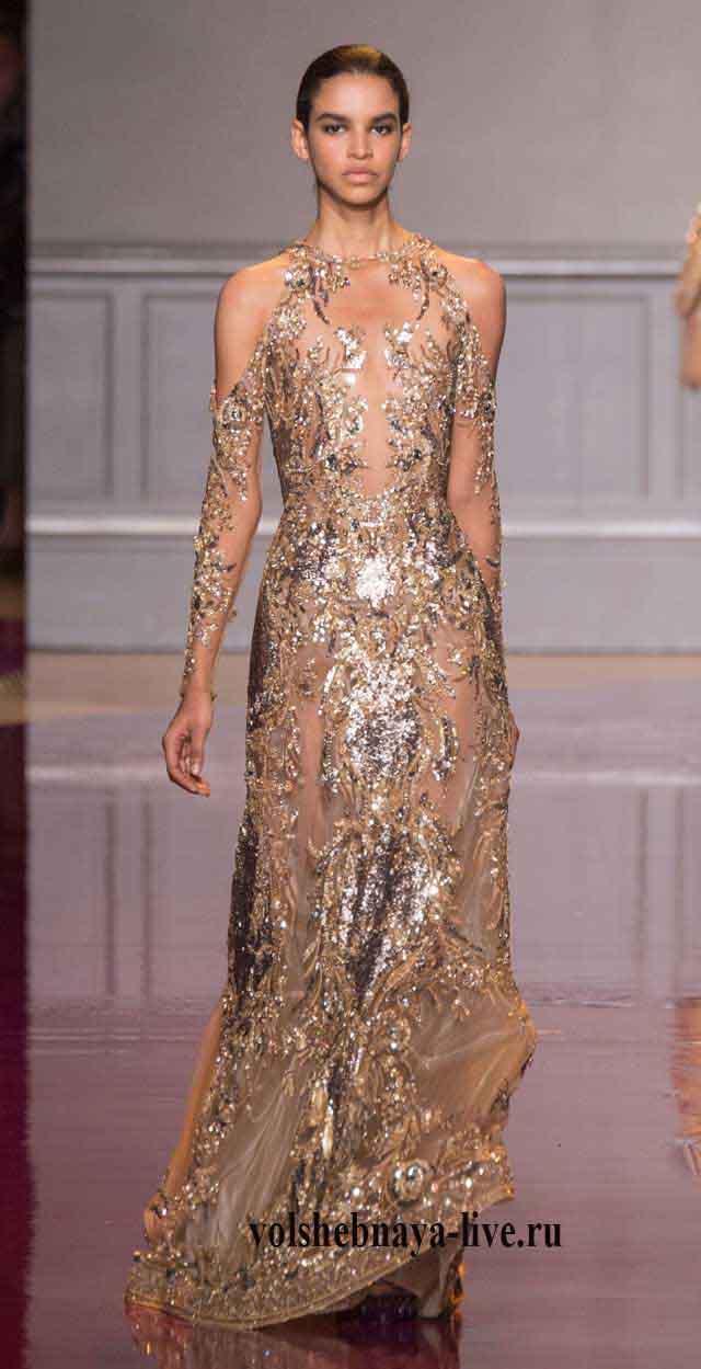 Вечернее платье в пол золотого цвета Zuhair Murad couture 2016