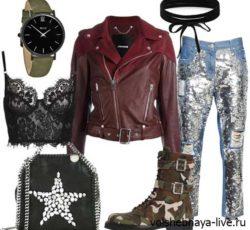Как одеться в клуб: джинсы с блестками и бордовая кожаная куртка