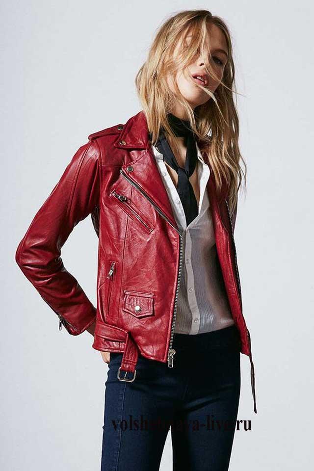 Бордовая куртка из кожи фасона косуха