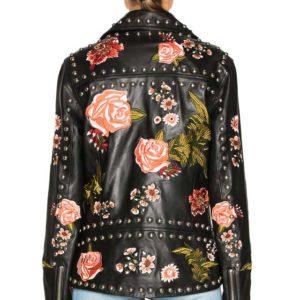 Вышитая куртка косуха черная в цветах