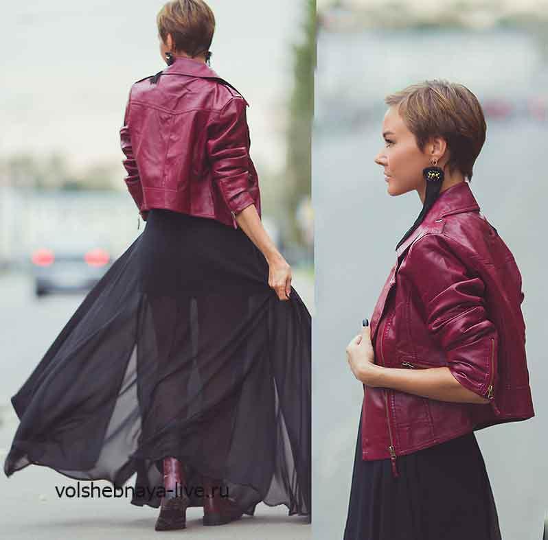 Образ с курткой из кожи бордового цвета и юбкой и шифона