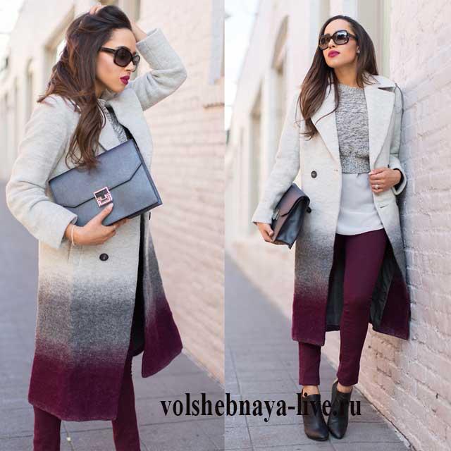 Бордовые брюки в сочетании с серым пальто и свитером