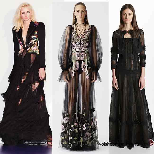 Черное кружевное платье в пол с чем носить