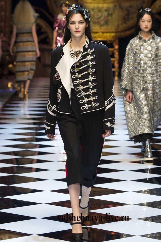 Образ с черным пиджаком в Гусарском стиле от Дольче и Габанна