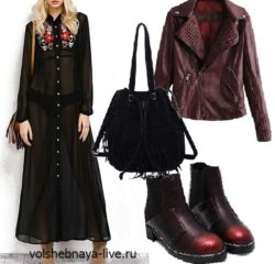 Бордовая куртка из кож зама с черным шифоновым платьем в пол