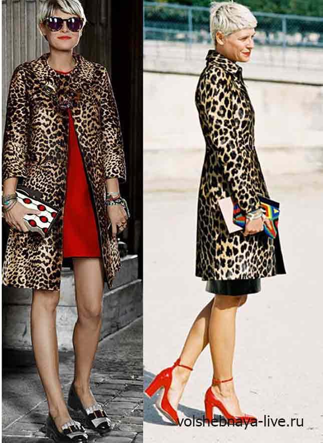 Леопардовое пальто с красной обувью и платьем