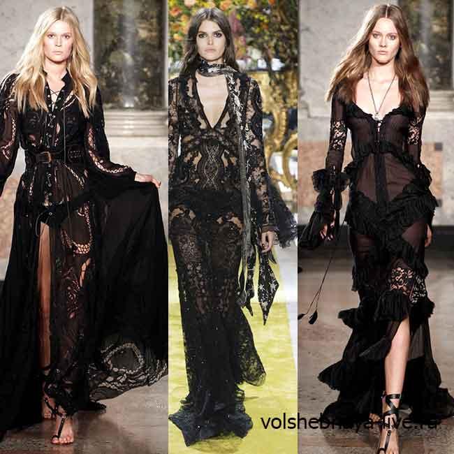 Дизайнерские черные кружевные платья в пол