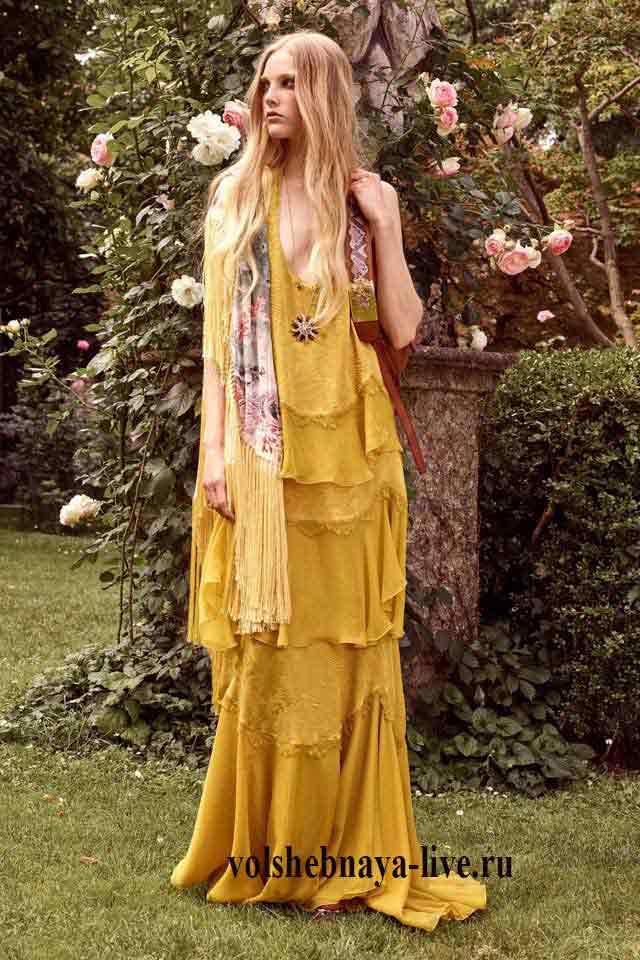 Горчичное платье в пол Cavalli resort 2017