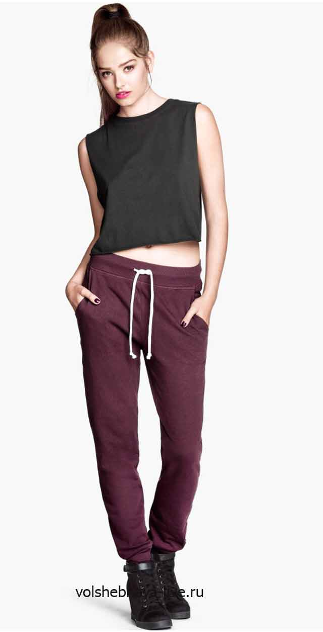 Спортивные брюки бордового цвета