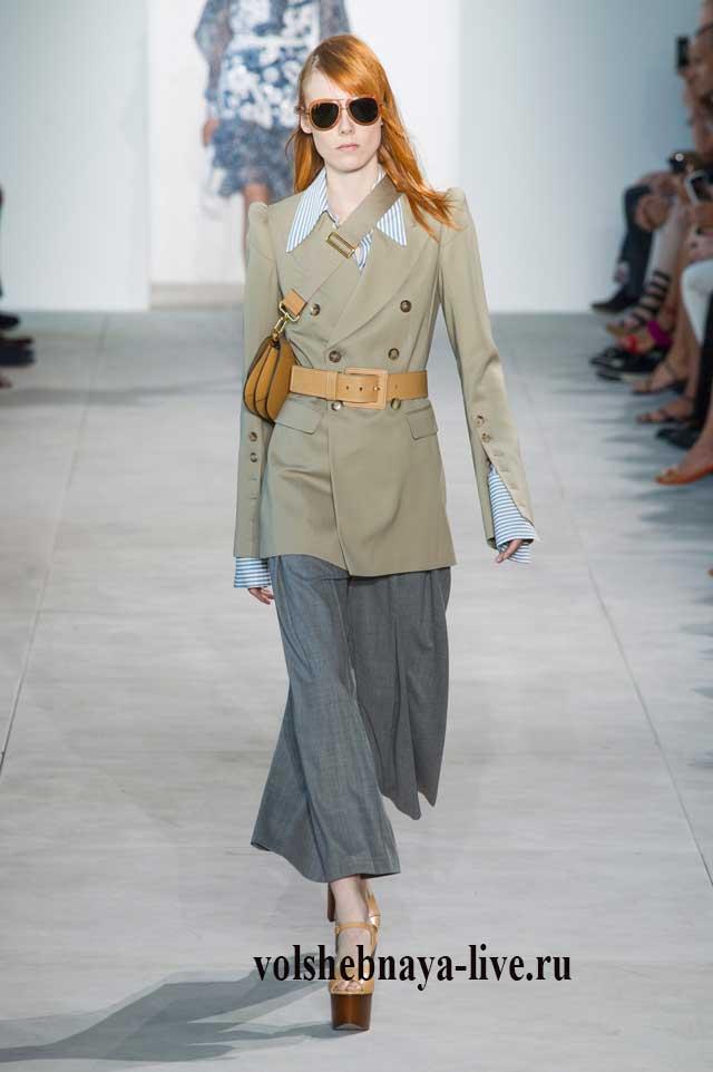 Песочный пиджак удлиненный двуботный под брюки кюлоты
