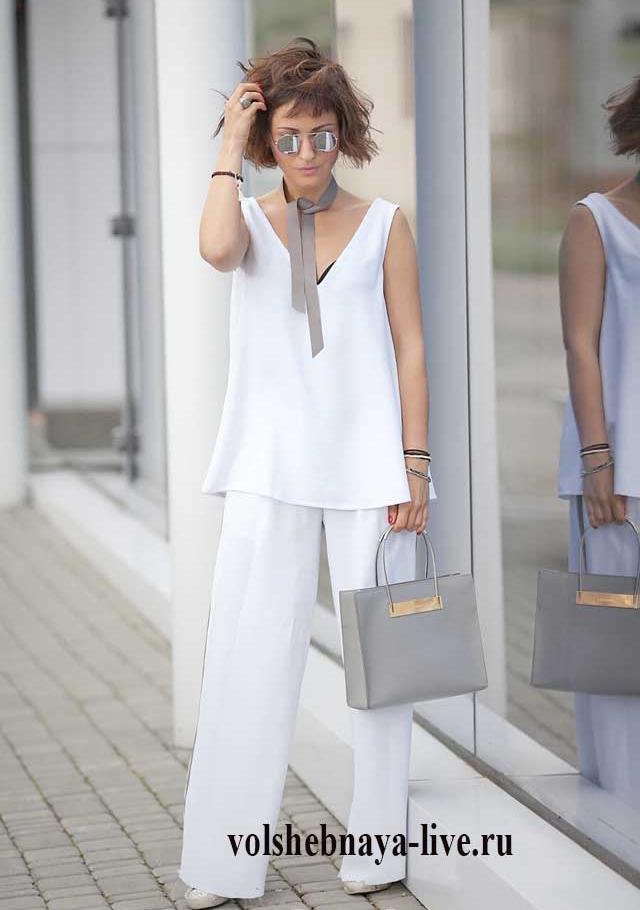 Что одеть к белым брюкам с серыми лампасами