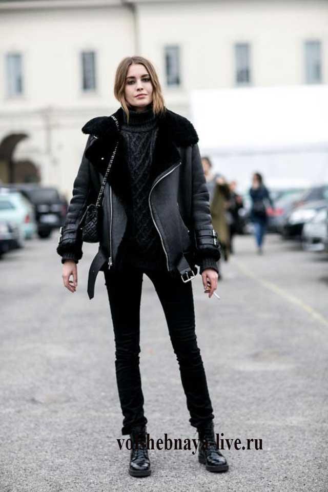 Образ с дубленкой и черными джинсами