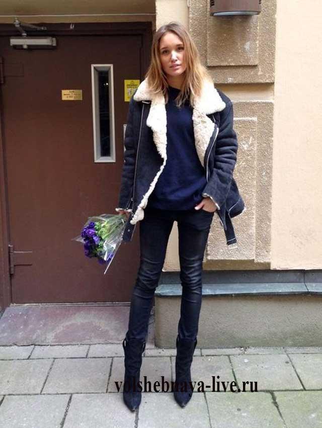 Косуха зимняя куртка с мехом синяя