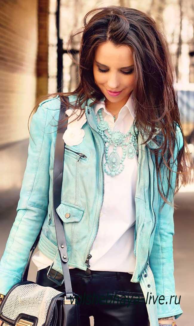Куртка косуха из мягкой кож голубая