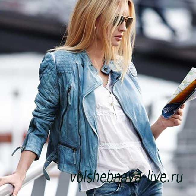 Куртка байкерская бирюзового цвета женская луки