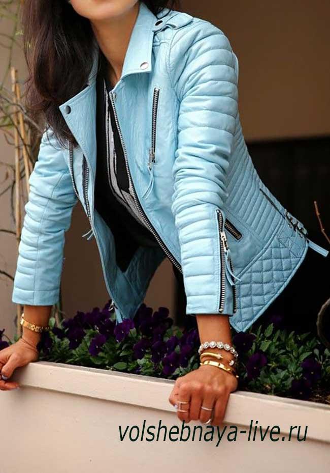 Жакет кожаный голубого цвета женская образы