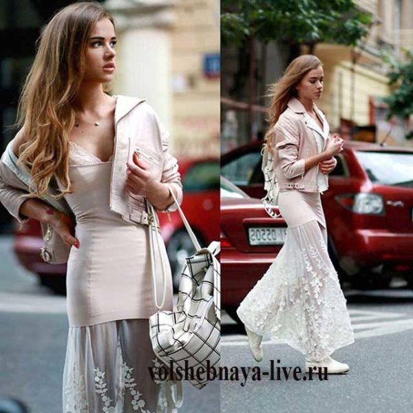 Розовая кожаная косуха и платье