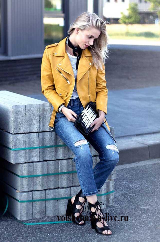 Кожаная косуха с джинсами