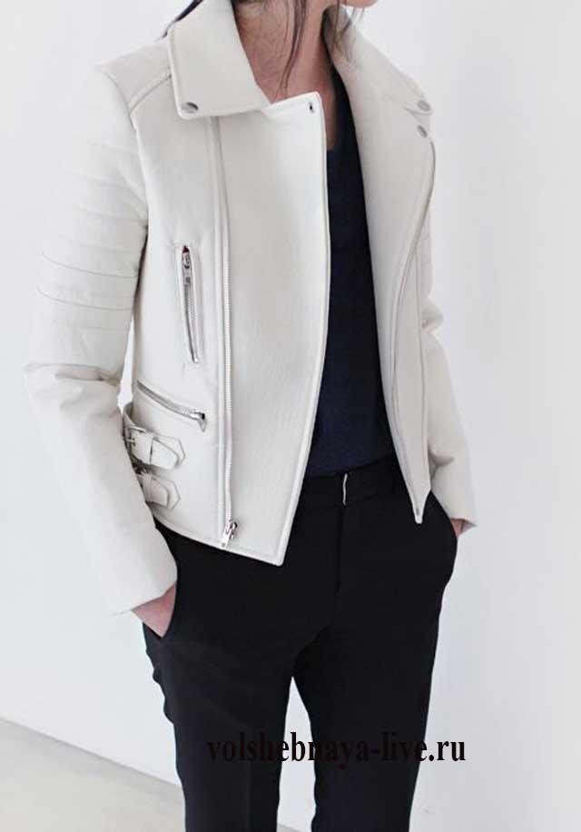 С чем носить белую косуху в новом сезоне образы